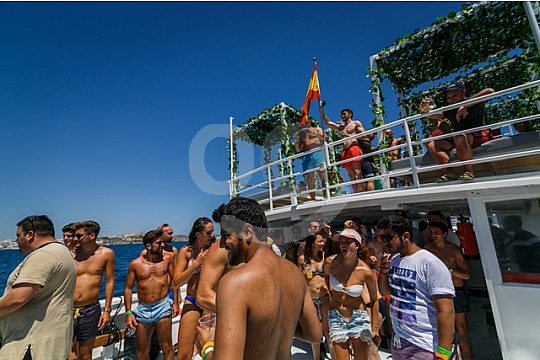 party on the boat in Ibiza