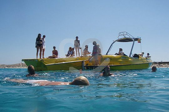 snorkeling and chartering a motorboat in Ibiza