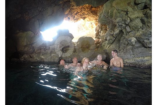 inside the sea cave during the SUP in Crete