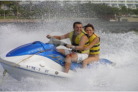 Man and woman on the jet ski in Tenerife