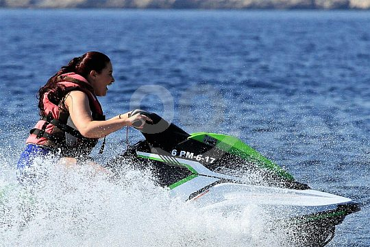 full speed with the jet ski