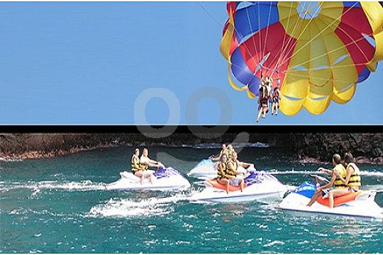 Combination jet skiing and parasailing in Tenerife