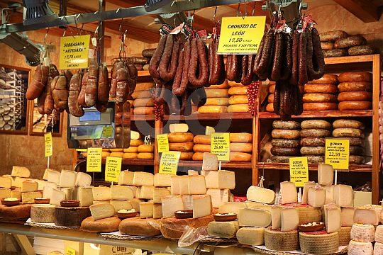 Mallorca Palma market stall with sausage and cheese