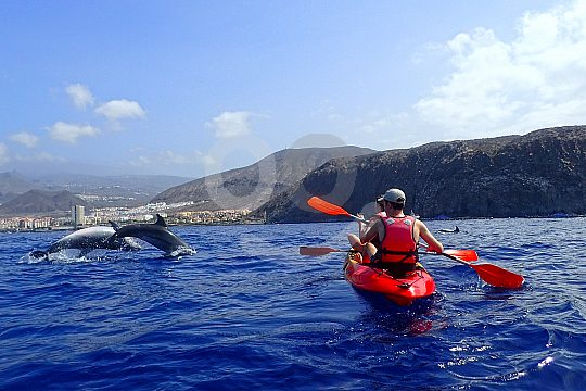 with a kayak on Tenerife