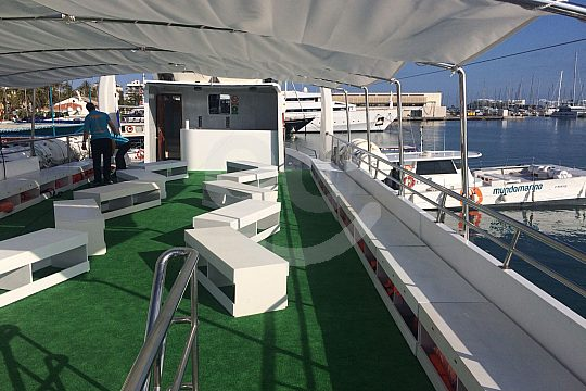 On board the catamaran