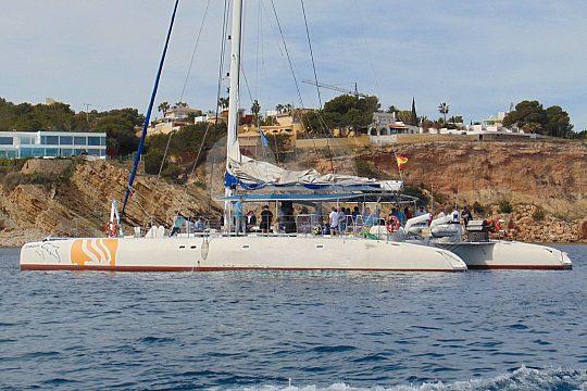 catamaran under sails
