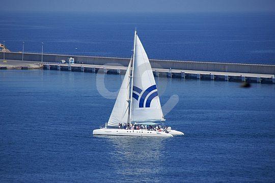catamaran in front of Ibiza