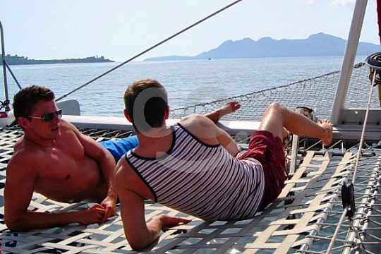 catamaran nets for sunbathing