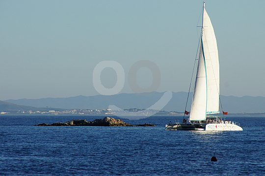 Sailing catamaran on the Costa Brava