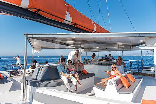 on deck of the catamaran