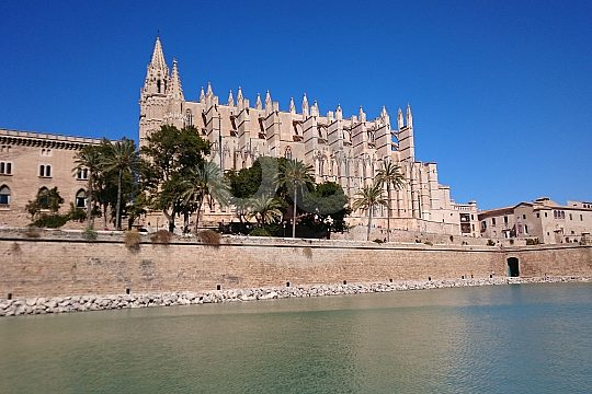 sight from the boat trip in Palma of the cathedral