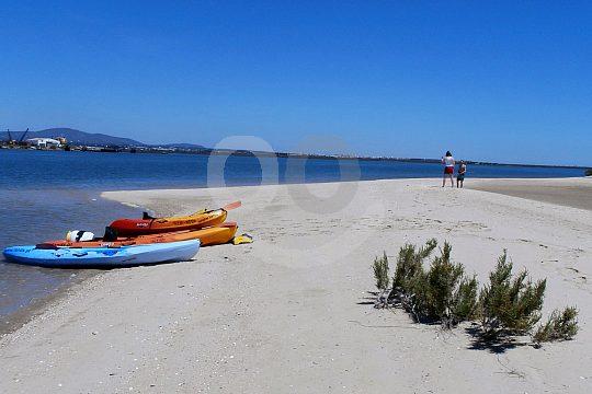 Kayak on the sandy beach at the Algarve