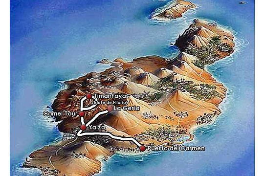 Route of the small island tour on Lanzarote