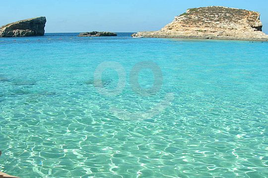 Crystal clear water around Comino