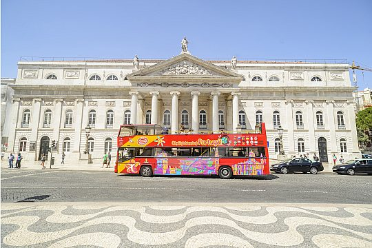 Lisbon in a city sightseeing bus