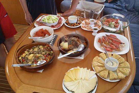 lunch on board of the catamaran