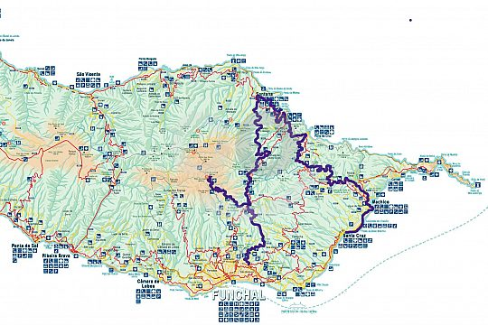 Route of the mountain jeep tour in Madeira