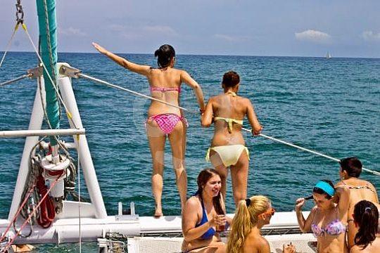 friends on the tour on catamaran