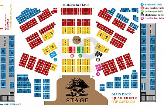 Seating plan for tickets for the pirate show in Magaluf