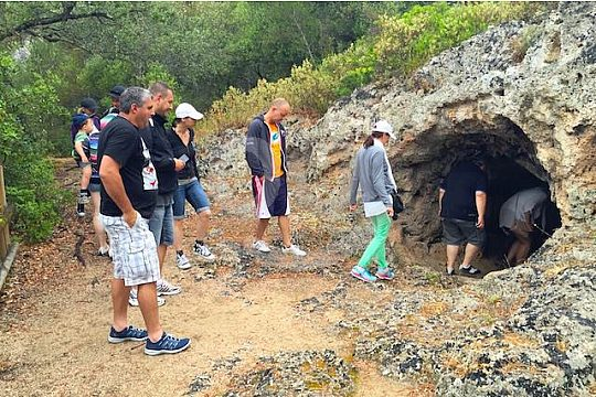 explore a cave on the private jeep tour