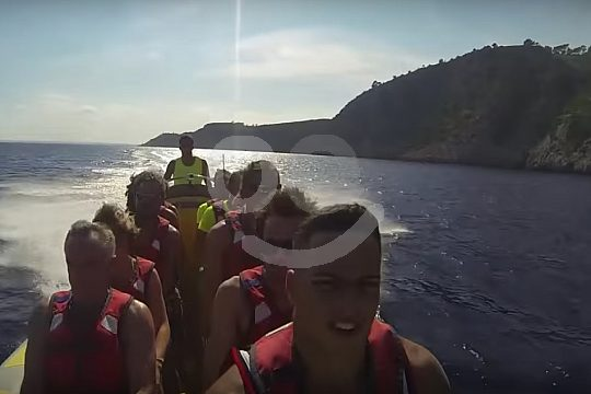 group on the speedboat