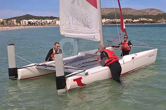 group at catamaran sailing in Majorca