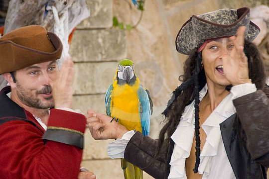 Pirates with parrot in Marineland Mallorca