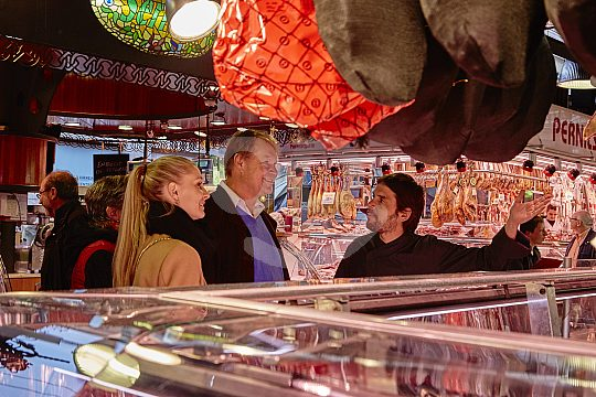 Visit market before cooking class in Barcelona