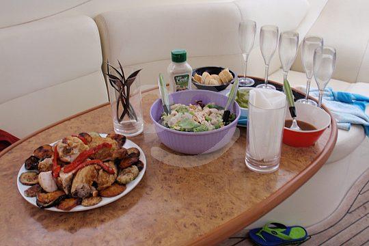 dinner on board of a motor yacht in Majorca