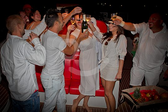 Party fun at the luxurious speedboat on Tenerife
