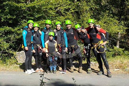 Group canyoning in the Basque Country
