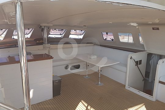 Inside the catamaran in Majorca