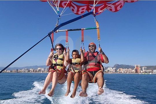 parasailing with several people