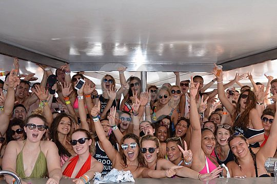 on board the party boat in Mallorca