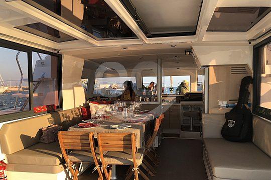 dinner on deck catamaran Barcelona