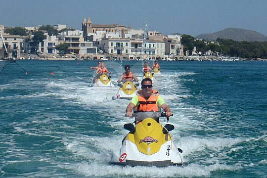 with guide jetskiing in Majorca east