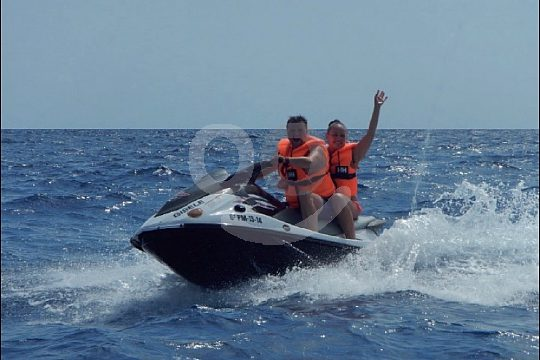 two persons on the Jet ski Safari from Porto colom