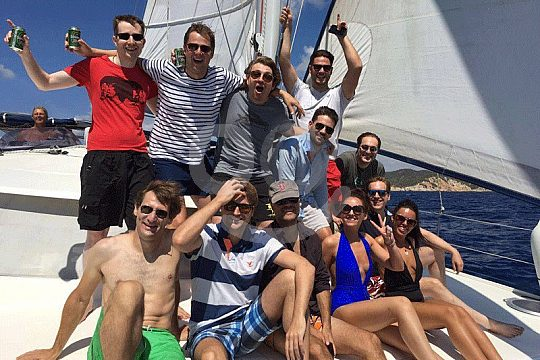 group on the chartered catamaran