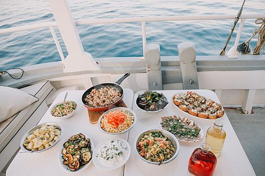 Dining on the Rhodes Yacht