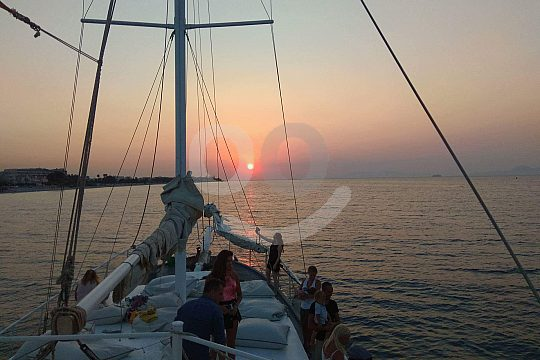 Sunset at Rhodes boat tour