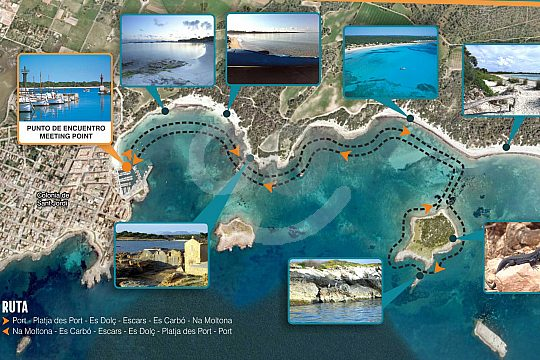 route of the kayak tour in Mallorca