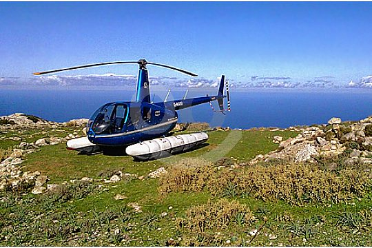 Helicopter with Mallorcan background