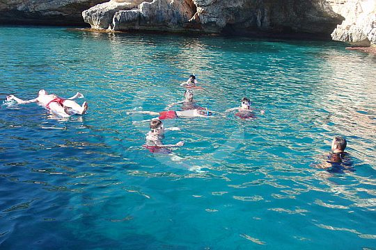 Snorkelling from the motor boat in Mallorca