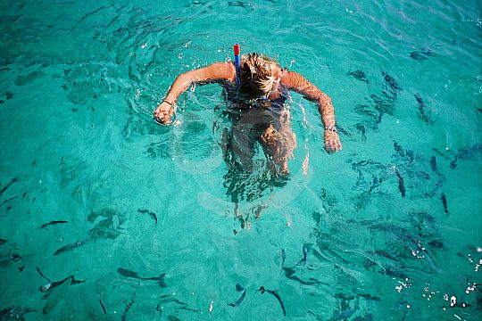 View under water with diving goggles