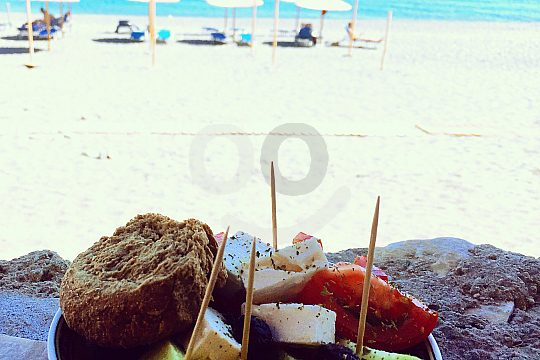 Fruit of the season on the beach of Crete