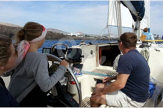 Learn to sail with skipper on sailing boat Lanzarote