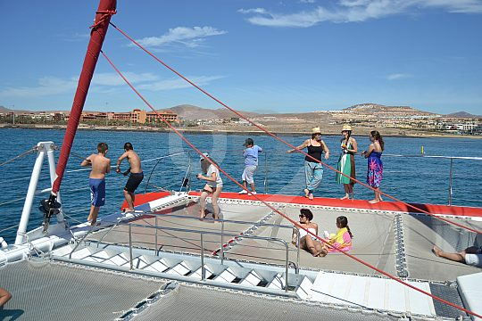 deck nets on sailing catamaran Fuerteventura East