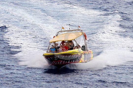 Auf dem Speedboot im Osten von Mallorca