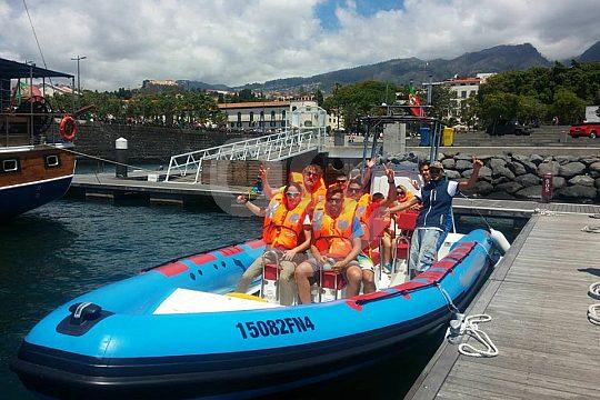 Riding RIB boat in Madeira