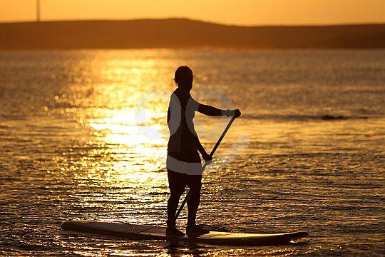 Stand Up Paddling at sunset on Formentera